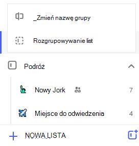 Zrzut ekranu przedstawiający menu Edycja grupy lista z wybraną opcją Zmień nazwę grupy lub Rozgrupuj listy.
