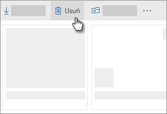 Zrzut ekranu przedstawiający usuwanie pliku w usłudze OneDrive