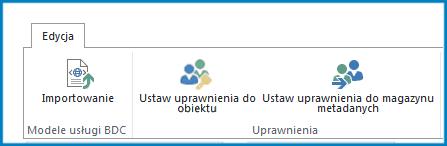 Zrzut ekranu wstążki Edycja w ustawieniach łączności biznesowej pokazujący przycisk Importuj i ustawienia uprawnień modelu usługi łączności danych biznesowych.