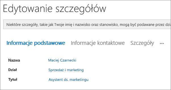 Zrzut ekranu przedstawiający stronę Edytowanie szczegółów dla użytkownika w usłudze Yammer.