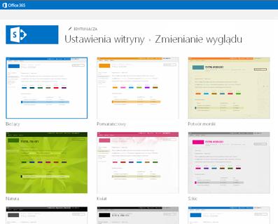 Przykład projektów dostępnych do dostosowywania witryny społeczności