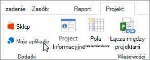 Zrzut ekranu przedstawiający część karty Projekt na Wstążce z kursorem wskazującym Moje aplikacje. Wybiera Moje aplikacje, aby wybrać ostatnio używanych aplikacji, zarządzać swoimi aplikacjami lub przejdź do sklepu Office dla nowych aplikacji.