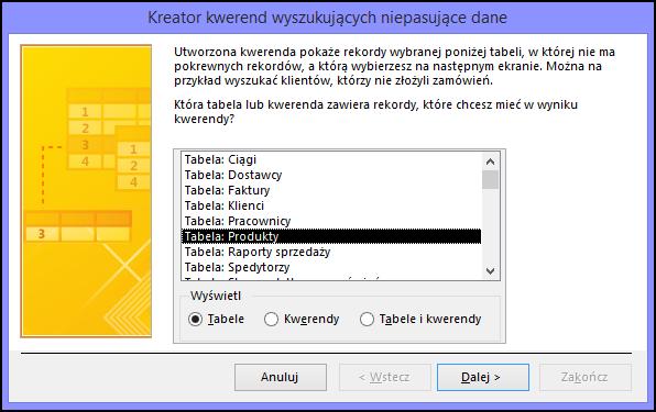 Wybierz tabelę lub zapytanie w oknie dialogowym Kreator zapytań wyszukujących niepasujące dane