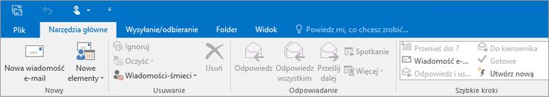 Tak wygląda wstążka programu Outlook 2016.