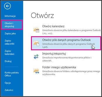 Otwieranie pliku danych programu Outlook