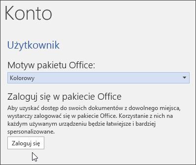Zrzut ekranu przedstawiający obszar Informacje o koncie w programie Word
