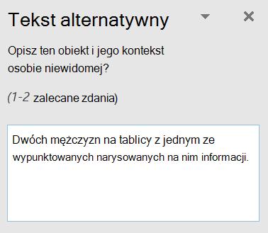 Okno dialogowe Tekst alternatywny w Outlook.