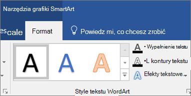 Kliknij pozycję wypełnienie tekstu albo efekty tekstowe