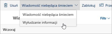 Zrzut ekranu przedstawiający przycisk Wyłudzanie informacji w menu rozwijanym Wiadomość niebędąca śmieciem