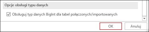 Zrzut ekranu przedstawiający opcje programu Access z zaznaczoną opcją obsługi danych typu bigint dla tabel zaimportowanych/połączonych.