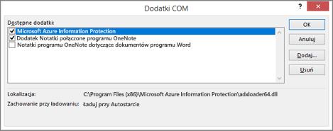 Wyłączanie lub usuwanie niechcianych dodatków za pomocą okna dialogowego Zarządzanie dodatkami COM