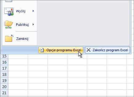 Opcje programu Excel