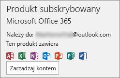 Pokazuje konto e-mail skojarzone z pakietem Office