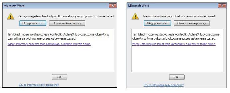 Komunikat o błędzie kontrolki ActiveX i obiektu osadzonego