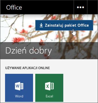 Zrzut ekranu przedstawiający przycisk Zainstaluj pakietu Office