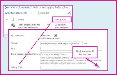 Kolumna zarządzanych metadanych, umożliwiająca użytkownikom wybieranie wstępnie zdefiniowanych wartości i wprowadzanie ich w kolumnie z użyciem właściwości dokumentu.