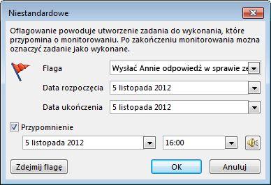 Okno dialogowe Niestandardowe do ustawiania przypomnień, dat rozpoczęcia i dat ukończenia
