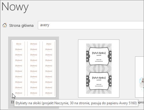 """Wyszukaj """"Avery"""", aby znaleźć szablony firmy Avery zgodnego"""