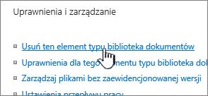 Usuwanie biblioteki dokumentów na stronie ustawień biblioteki