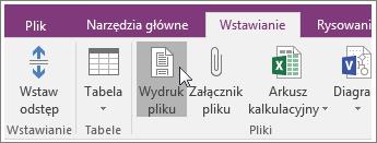 Zrzut ekranu: przycisk Wydruk pliku w programie OneNote 2016.