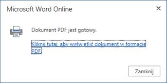 Okno dialogowe drukowania w aplikacji Word Online