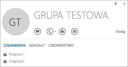 Zrzut ekranu przedstawiający kartę Członkowie wizytówki grupy Test w programie Outlook. Do grupy należą dwie podgrupy: Podgrupa 1 i Podgrupa 2.