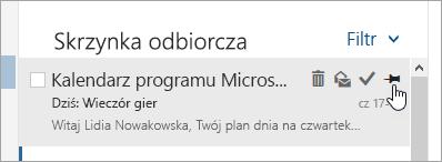 Zrzut ekranu przedstawiający opcję przypięcia na liście wiadomości