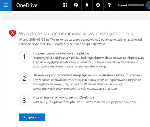 Zrzut ekranu przedstawiający znaki ransomware wykryto ekranu w witrynie internetowej usługi OneDrive
