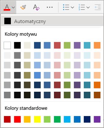 Opcje menu koloru czcionki w aplikacji OneNote Online.