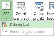 Obraz opcji Definiuj kod przycisku SPP