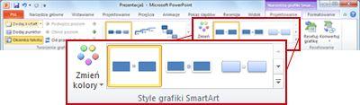 Karta Projektowanie w obszarze Narzędzia grafiki SmartArt
