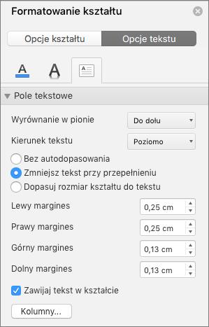 Opcje Pole tekstowe w okienku Formatowanie kształtu