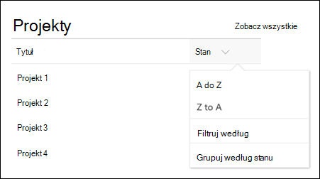 List Web Part with sort, filter, and group menu