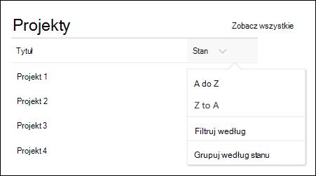 Składnik web part listy przy użyciu sortowania, filtrowania i menu Grupa