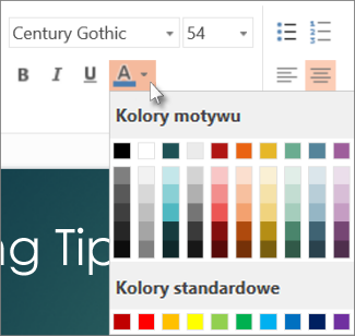 Wybieranie koloru tekstu