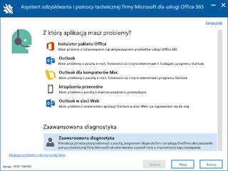 Zrzut ekranu przedstawiający ekran zaznaczenia scenariusz Asystent odzyskiwania i pomocy technicznej zaawansowane Diagnostyka zaznaczone.