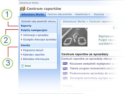 Łącza nawigacji w witrynie Centrum raportów