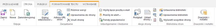 Zrzut ekranu przedstawiający kartę Strona z wieloma przyciskami do edytowania, zapisywania, ewidencjonowania i wyewidencjonowywania stron publikowania