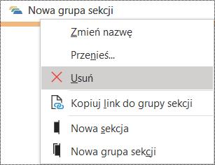 Okno dialogowe Usuwanie grupy sekcji w programie OneNote dla systemu Windows