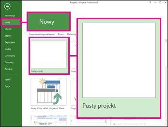 Przycisk tworzenia nowego pustego projektu