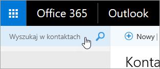 Zrzut ekranu przedstawiający pole wyszukiwania kontaktów na stronie Kontakty.