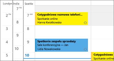 Kalendarz z 3 strefami czasowymi po lewej stronie i spotkaniami po prawej
