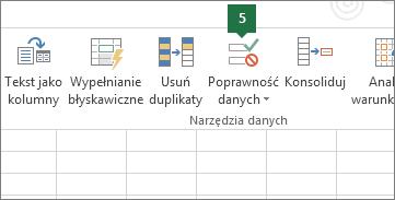 Sprawdź poprawność listy rozwijanej, klikając pozycję Dane > Sprawdzanie poprawności danych w programie Excel