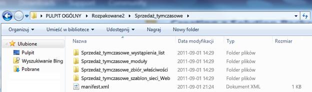 Zrzut ekranu przedstawiający okno Eksploratora Windows z rozpakowanym pakietem rozwiązania sieci Web (wsp).