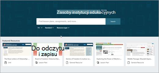 Druga wersja ekran główny programu OneNote instytucji Edukacyjnych zasobów