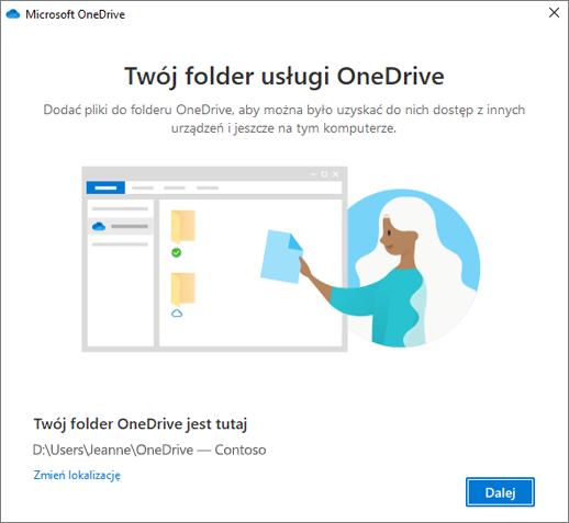 Ekran To jest folder usługi OneDrive w kreatorze OneDrive — Zapraszamy!