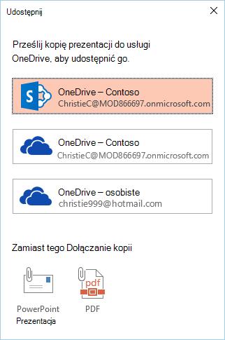 Jeśli nie zostały jeszcze zapisane prezentacji do usługi OneDrive lub programu SharePoint, zostanie wyświetlony monit, aby to zrobić.