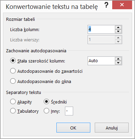 Konwertuj tekst na tabelę