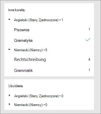 Korekty i uściślenia są wyświetlane w okienku Redaktora zgodnie z wybranym językiem.
