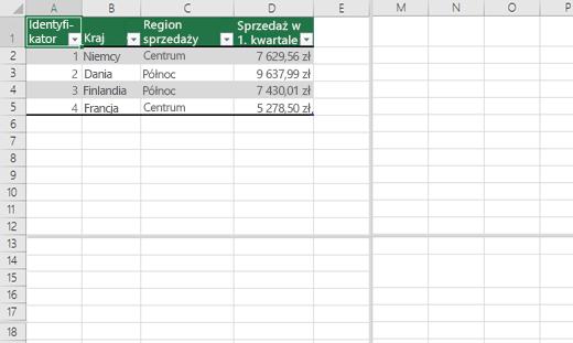 Dzielenie na okienka w skoroszycie programu Excel